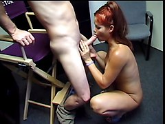 Fiery young redhead coed with big tits is face fucked on dorm room floor