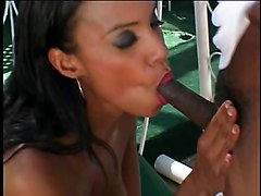 Incredible, busty Latina gets fucked by a big black cock outside