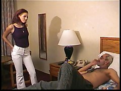 Hot round-assed redhead licks rubs and tugs older dude's dick