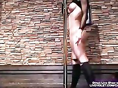 Stunning raven babe Avril pole dancing