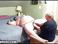 Mature gives chubby hubby good handjob
