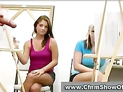 Babes check out naked CFNM guys at art class
