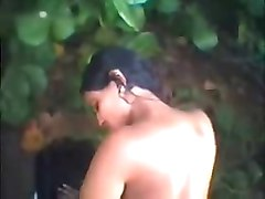 Having fun with indian teen in wood. Public nudity