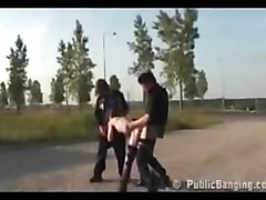 Public - public sex threesome by a busy highway