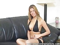 Sexy jerk off teacher shows off her curves by spreading