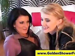 Glamorous lesbians have pissing fun