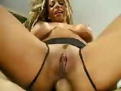 Ebony Sucks His Cock And Then Takes The Hard Snake In Her Ass