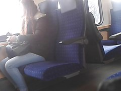 train flash with cum. she looks a lot and likes it