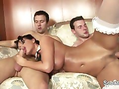 perfect german milf get hard fucked by two big dicks