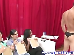 real cfnm femdom cumshot over tits in front of group of voyeurs