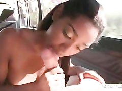 ebony sweety working white cock in bus