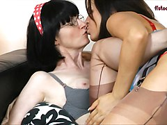 busty horny milfs can't stop kissing, groping, masturbating