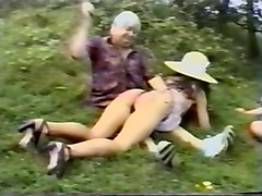 british mother & daughter spanked outdoors