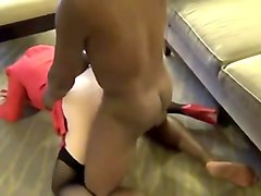 blonde wife in red dress loves bbc!