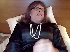sweeeet tranny masturbation in satin dress