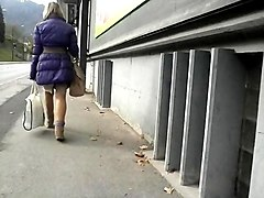 spy mature in pantyhose with bag