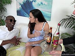 paisley parker gets black cock and hubby has licks up cum