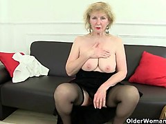 british grannies pearl and amanda going solo in stockings