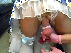 cuckold sissy gets hand job and humiliation by wife