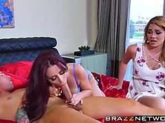 brunette milf teaches young babe to fuck