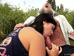 old fisherman fucks young brunette naomie