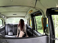 redhead rimming and sucking in fake taxi