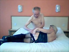 Blonde wife wearing boots sucks off old guy