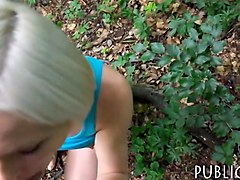 cute blonde czech girl railed in the woods for money
