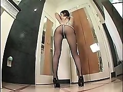 sexy slender japanese girl in pantyhose teases and pleases