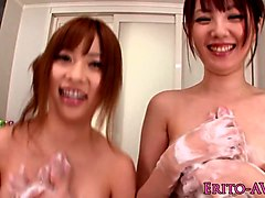 Threeway Japanese babes pussy fingered pov