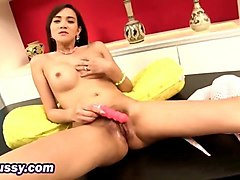 sexy postop ladyboy toying her sweet pussy with a pink dildo