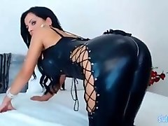 hot ass milf teases in sexy latex suit