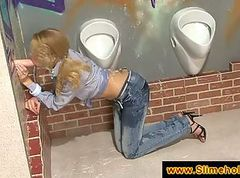 Blonde in jeans gets on her knees