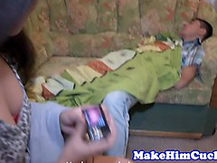 Cuckolding beauty banged in front of her bf