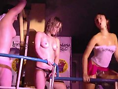 Club party girls flashing nude striptease contest