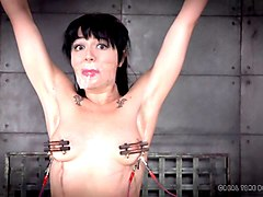 slave natural tits getting pegged in bdsm torture shoot
