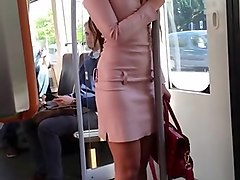girl in mini leather dress public voyeur &extreme high heels