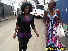 Busty African lesbians eating pussies