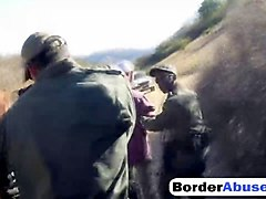 brunette teen abused by border guard by pounding