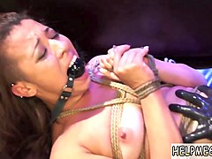 brunette bitch gets tied up, gagged and fucked