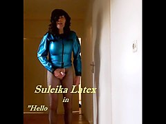 huge cock cd suleika latex in blue latex showing off