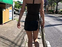 mini skirt with no panties, walking through the streets 1