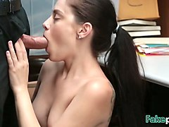 petite bobbi dylan gets pierced pussy fucked in security room