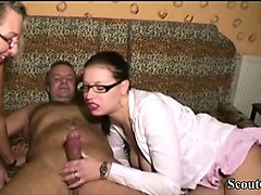 german mother teach step-daughter to fuck with stranger guy