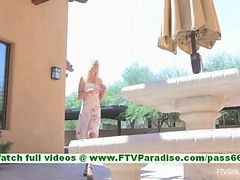Lindy Skinny Innocent Blonde Girl Showing Naked Pussy And Posing And Toying Pussy Outdoors