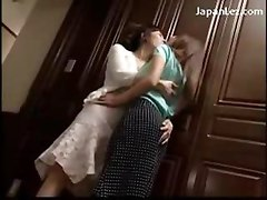 2 Girls Kissing Passionately At The Door