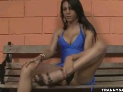 Brazilian Shemale Babe Stripping And Jerking Off