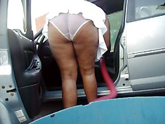Clean The Car White Panties 3