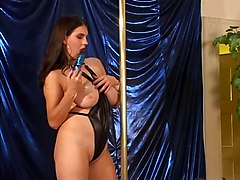 Poledancer And Hairy Mature Play With Cock