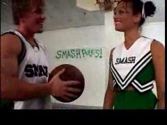 Basketbal Players Gang Banging The Lead Cheerleader